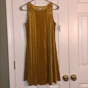 golden velvet t-shirt dress